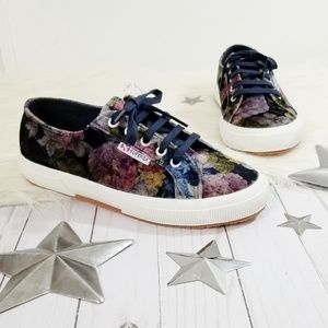 Superga velvet sneakers navy floral rose purple